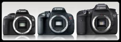 Cuando se compara la SL1 con la mediana T5i o la semi-pro 7D se comprende mejor la diferencia de tamaños. Crédito: camerasize.com