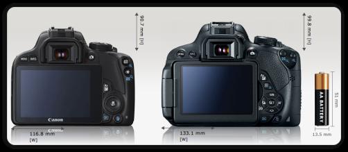 """Aunque sea una cámara muy pequeña, la SL1 tiene una pantalla tan grande (3"""") como la Rebel T5i. Crédito: camerasize.com"""