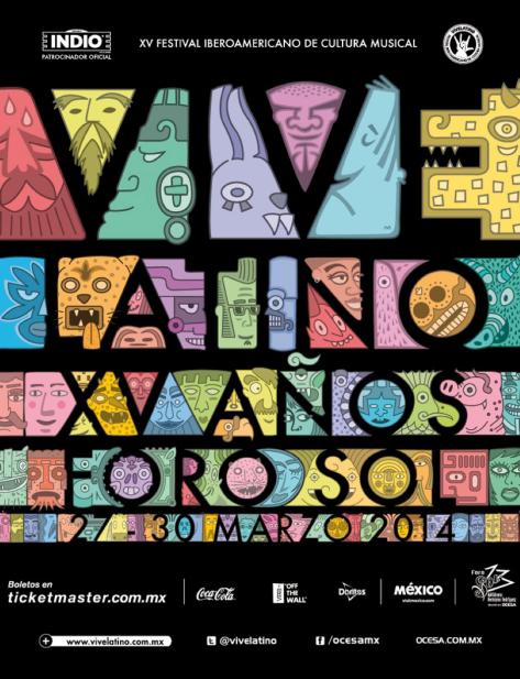Póster oficial del Vive latino 2014.