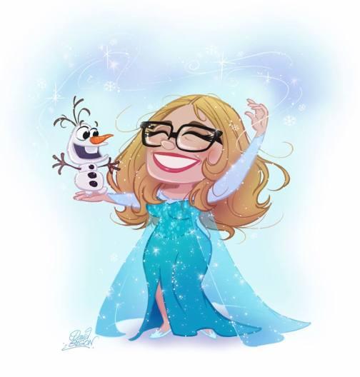 Ilustración de Jennifer Lee, guionista y directora, creada por David Gilson / Crédito: rotoscopers.com